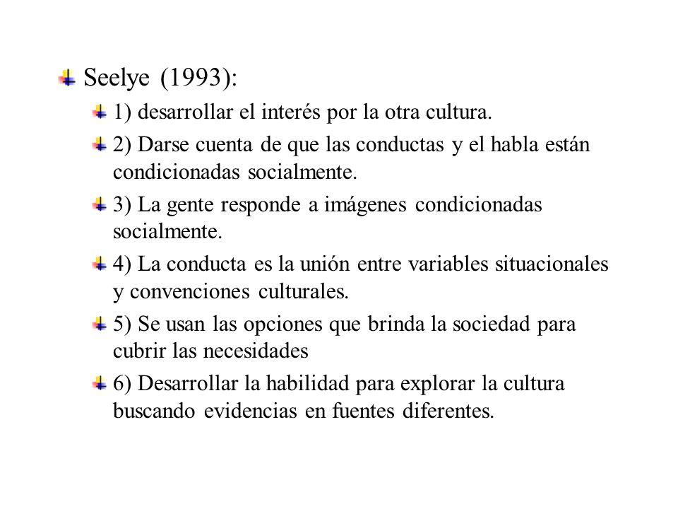 Seelye (1993): 1) desarrollar el interés por la otra cultura.