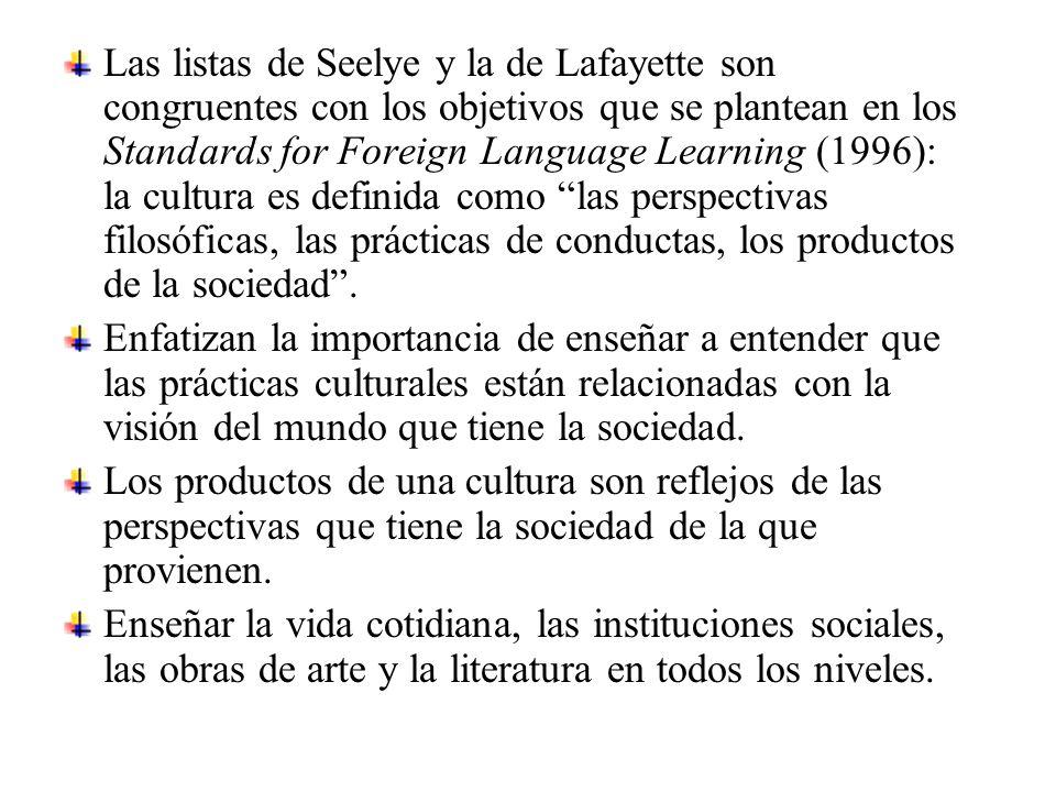 Las listas de Seelye y la de Lafayette son congruentes con los objetivos que se plantean en los Standards for Foreign Language Learning (1996): la cultura es definida como las perspectivas filosóficas, las prácticas de conductas, los productos de la sociedad .