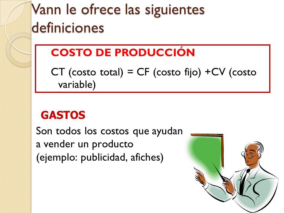 Vann le ofrece las siguientes definiciones COSTO DE PRODUCCIÓN CT (costo total) = CF (costo fijo) +CV (costo variable) Son todos los costos que ayudan a vender un producto (ejemplo: publicidad, afiches) GASTOS