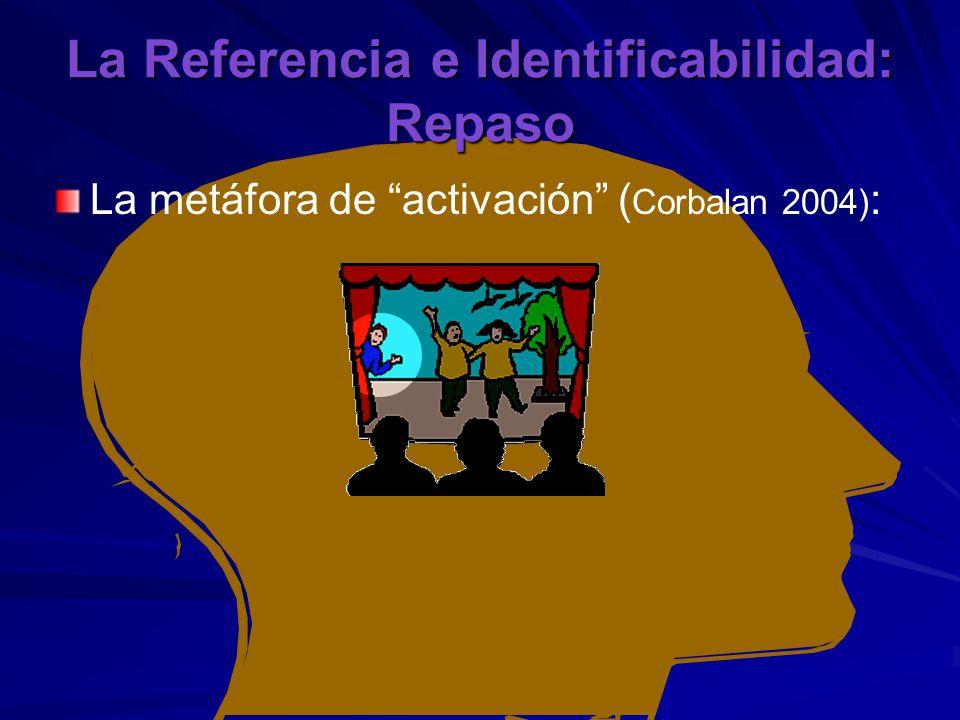 La Referencia e Identificabilidad: Repaso La metáfora de activación ( Corbalan 2004) :