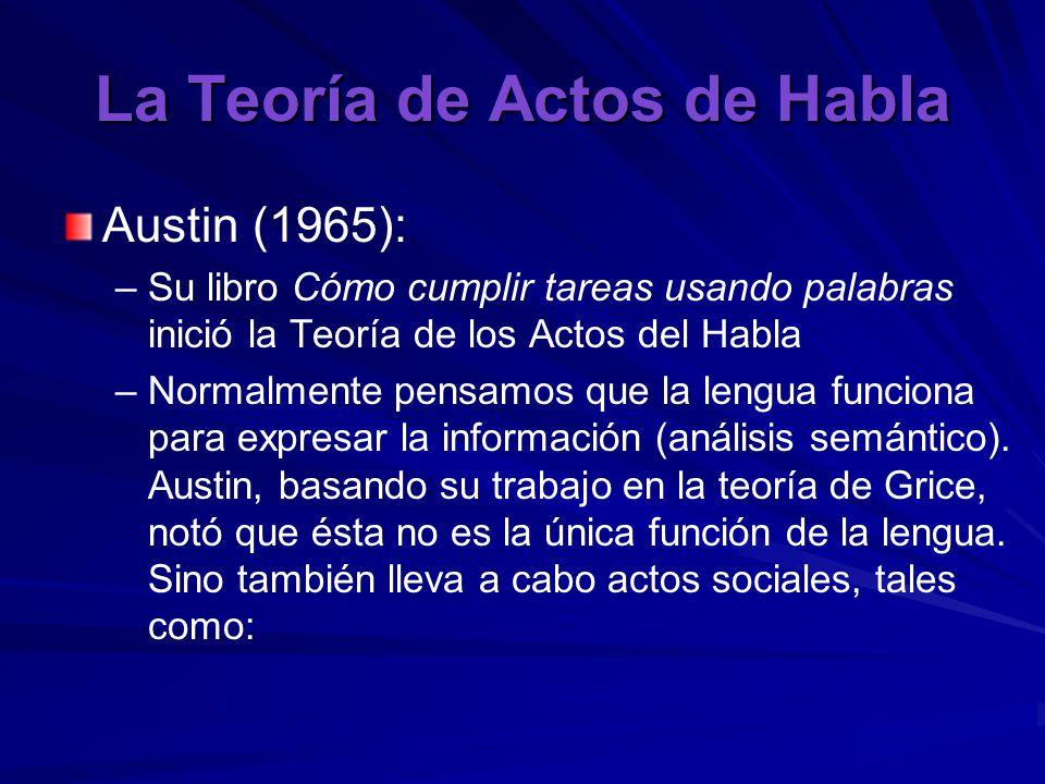 La Teoría de Actos de Habla Austin (1965): – –Su libro Cómo cumplir tareas usando palabras inició la Teoría de los Actos del Habla – –Normalmente pensamos que la lengua funciona para expresar la información (análisis semántico).