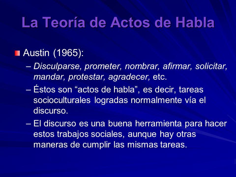 La Teoría de Actos de Habla Austin (1965): – –Disculparse, prometer, nombrar, afirmar, solicitar, mandar, protestar, agradecer, etc.