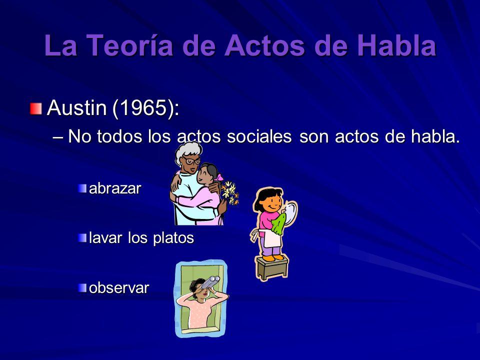 La Teoría de Actos de Habla Austin (1965): –No todos los actos sociales son actos de habla.