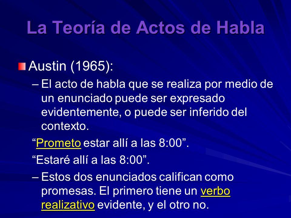 La Teoría de Actos de Habla Austin (1965): – –El acto de habla que se realiza por medio de un enunciado puede ser expresado evidentemente, o puede ser inferido del contexto.