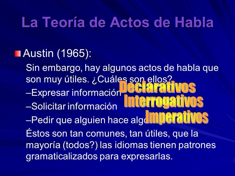 La Teoría de Actos de Habla Austin (1965): Sin embargo, hay algunos actos de habla que son muy útiles.