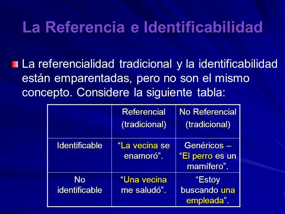 La Referencia e Identificabilidad La referencialidad tradicional y la identificabilidad están emparentadas, pero no son el mismo concepto.
