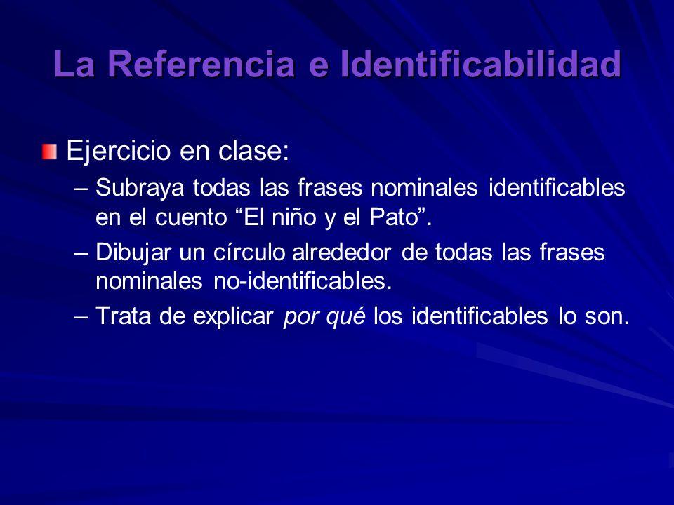 La Referencia e Identificabilidad Ejercicio en clase: – –Subraya todas las frases nominales identificables en el cuento El niño y el Pato .