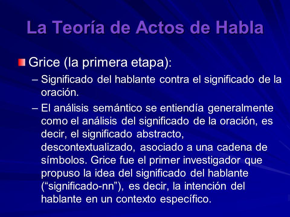 La Teoría de Actos de Habla Grice (la primera etapa) : – –Significado del hablante contra el significado de la oración.