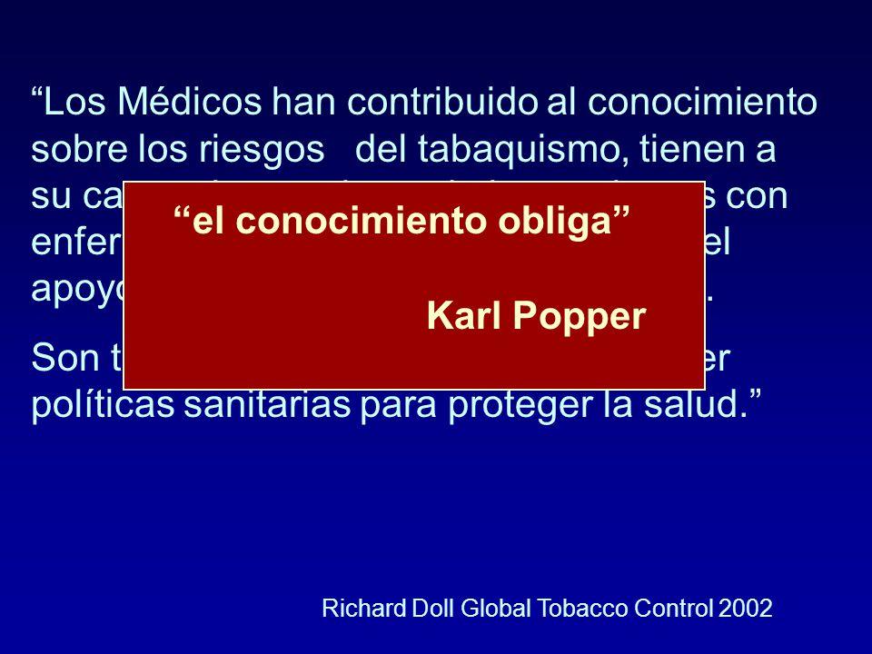 Los Médicos han contribuido al conocimiento sobre los riesgos del tabaquismo, tienen a su cargo el tratamiento de los pacientes con enfermedades tabaco-dependientes y el apoyo para la cesación del tabaquismo.