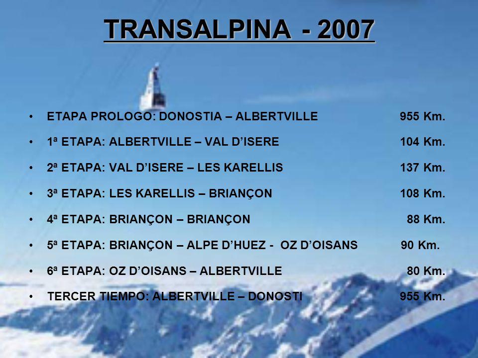 ETAPA PROLOGO: DONOSTIA – ALBERTVILLE 955 Km. 1ª ETAPA: ALBERTVILLE – VAL D'ISERE 104 Km.