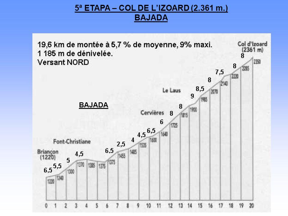5ª ETAPA – COL DE L'IZOARD (2.361 m.) BAJADA BAJADA