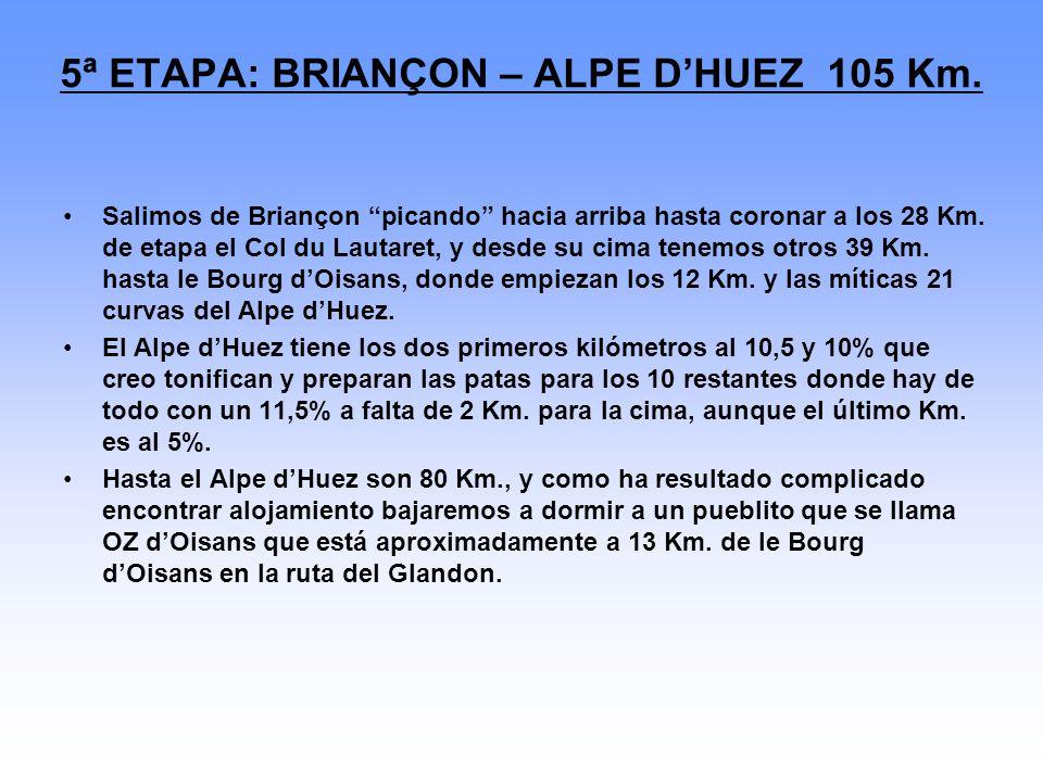 5ª ETAPA: BRIANÇON – ALPE D'HUEZ 105 Km.