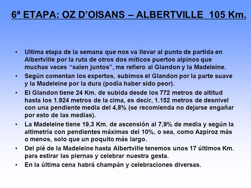 6ª ETAPA: OZ D'OISANS – ALBERTVILLE 105 Km.