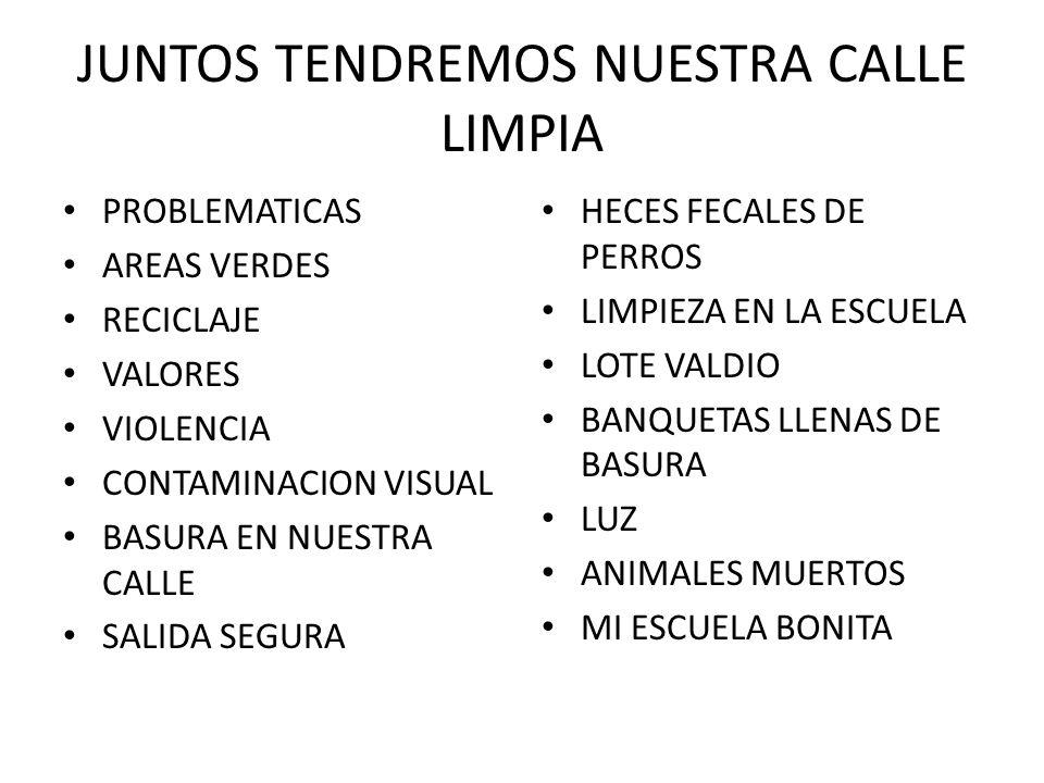 JUNTOS TENDREMOS NUESTRA CALLE LIMPIA PROBLEMATICAS AREAS VERDES RECICLAJE VALORES VIOLENCIA CONTAMINACION VISUAL BASURA EN NUESTRA CALLE SALIDA SEGURA HECES FECALES DE PERROS LIMPIEZA EN LA ESCUELA LOTE VALDIO BANQUETAS LLENAS DE BASURA LUZ ANIMALES MUERTOS MI ESCUELA BONITA