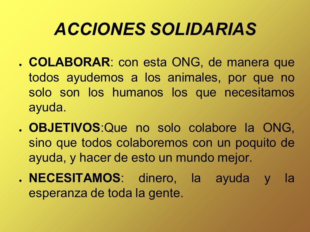 ACCIONES SOLIDARIAS ● COLABORAR: con esta ONG, de manera que todos ayudemos a los animales, por que no solo son los humanos los que necesitamos ayuda.