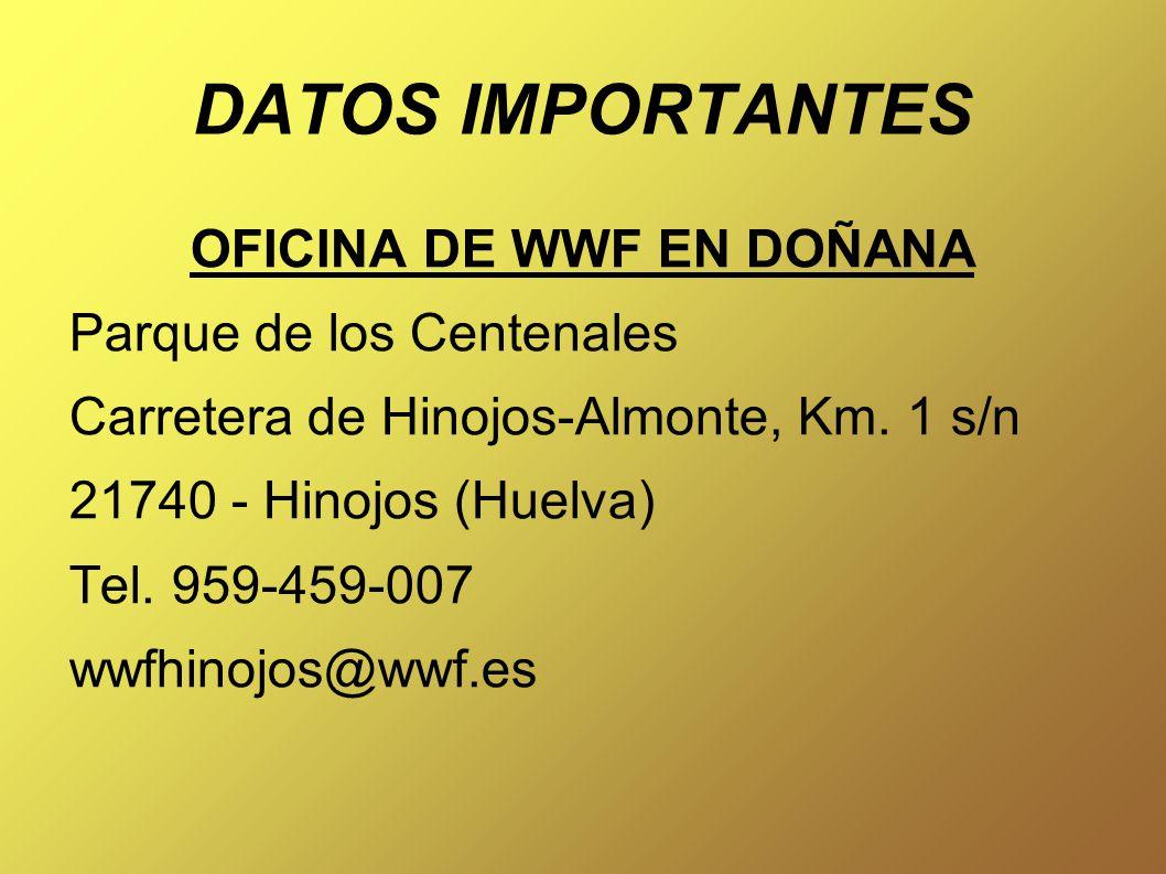 DATOS IMPORTANTES OFICINA DE WWF EN DOÑANA Parque de los Centenales Carretera de Hinojos-Almonte, Km.