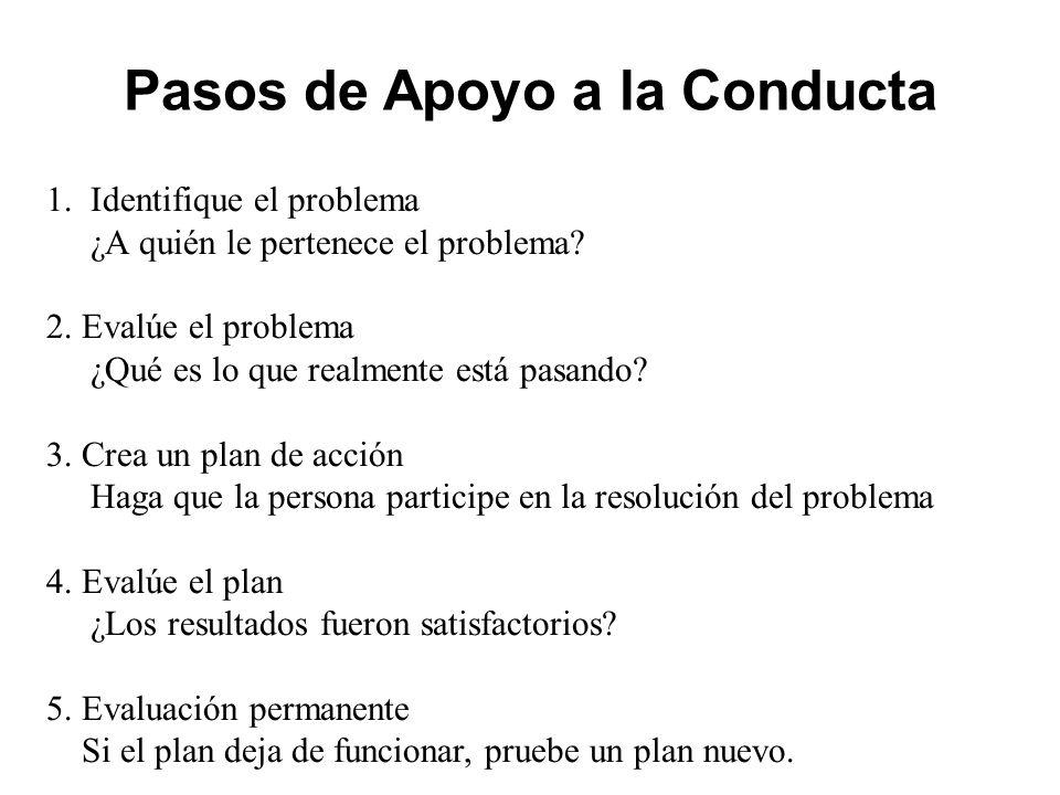 Pasos de Apoyo a la Conducta 1. Identifique el problema ¿A quién le pertenece el problema.