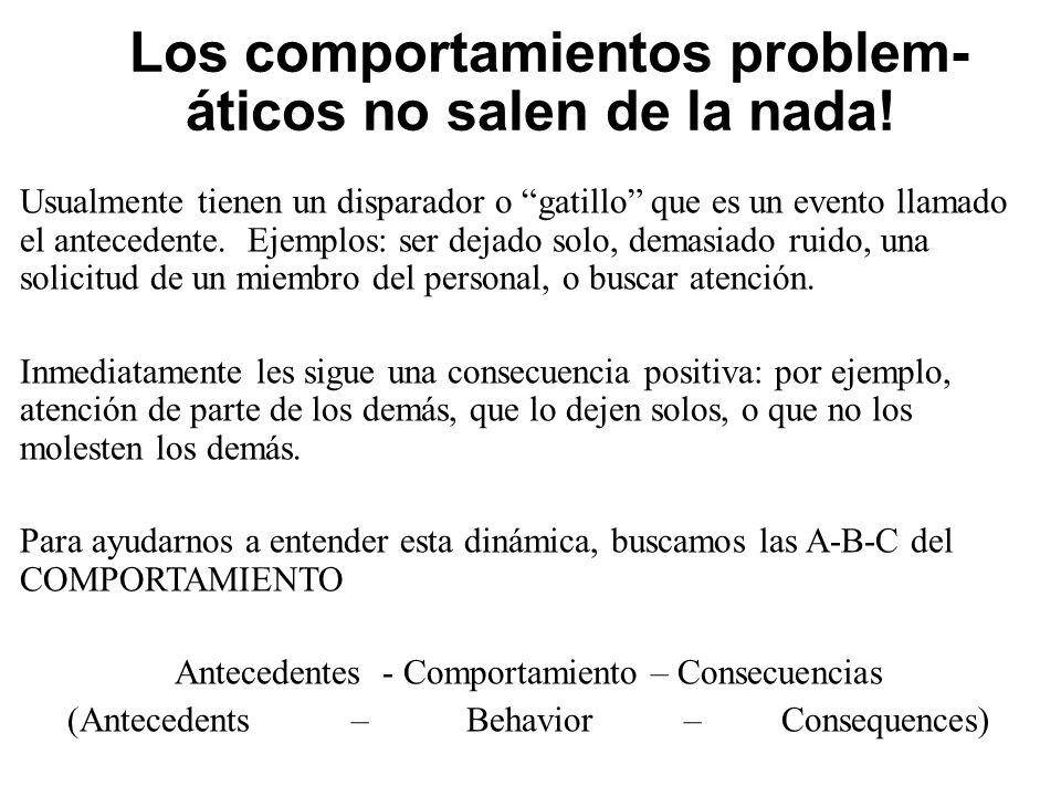 ¡Los comportamientos problem- áticos no salen de la nada.