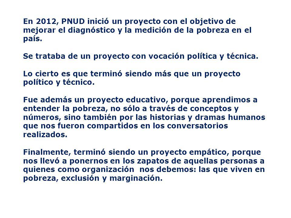 En 2012, PNUD inició un proyecto con el objetivo de mejorar el diagnóstico y la medición de la pobreza en el país.