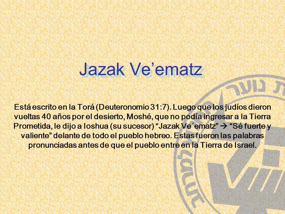 Jazak Ve'ematz Está escrito en la Torá (Deuteronomio 31:7).