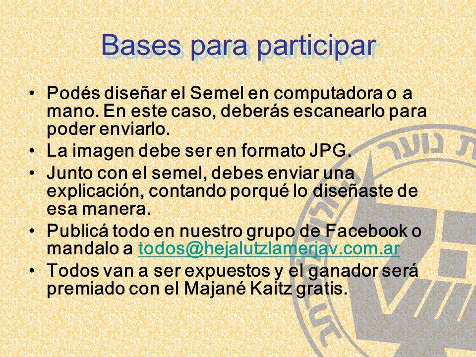 Bases para participar Podés diseñar el Semel en computadora o a mano.