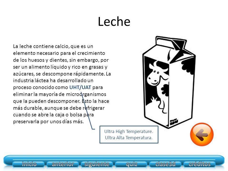Leche La leche contiene calcio, que es un elemento necesario para el crecimiento de los huesos y dientes, sin embargo, por ser un alimento líquido y rico en grasas y azúcares, se descompone rápidamente.