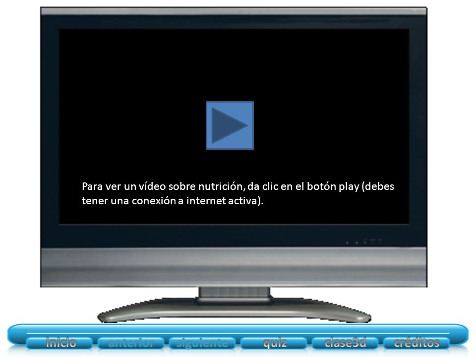 Para ver un vídeo sobre nutrición, da clic en el botón play (debes tener una conexión a internet activa).