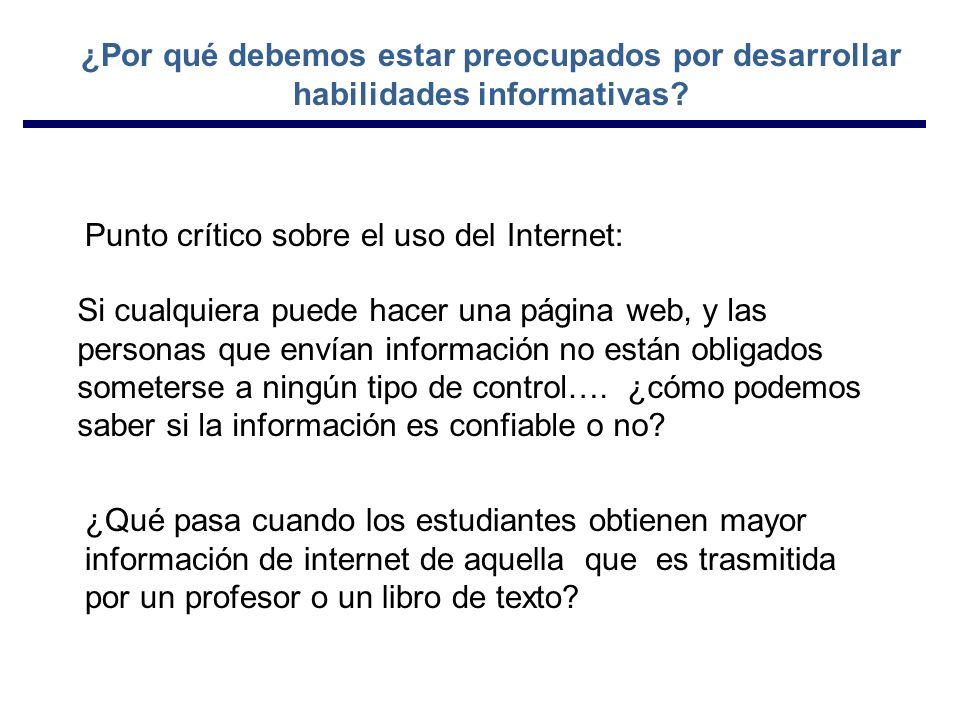 Si cualquiera puede hacer una página web, y las personas que envían información no están obligados someterse a ningún tipo de control….