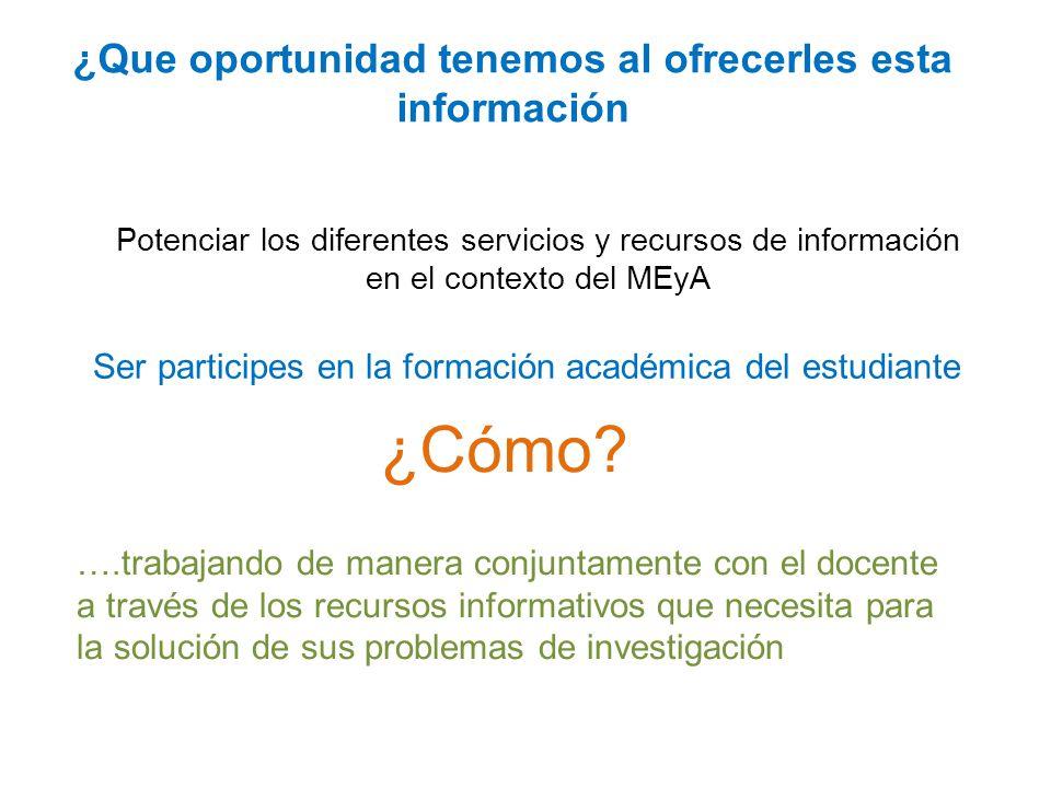 Potenciar los diferentes servicios y recursos de información en el contexto del MEyA ¿Cómo.