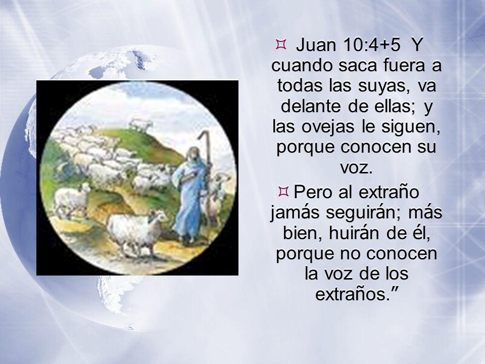  Juan 10:4+5 Y cuando saca fuera a todas las suyas, va delante de ellas; y las ovejas le siguen, porque conocen su voz.