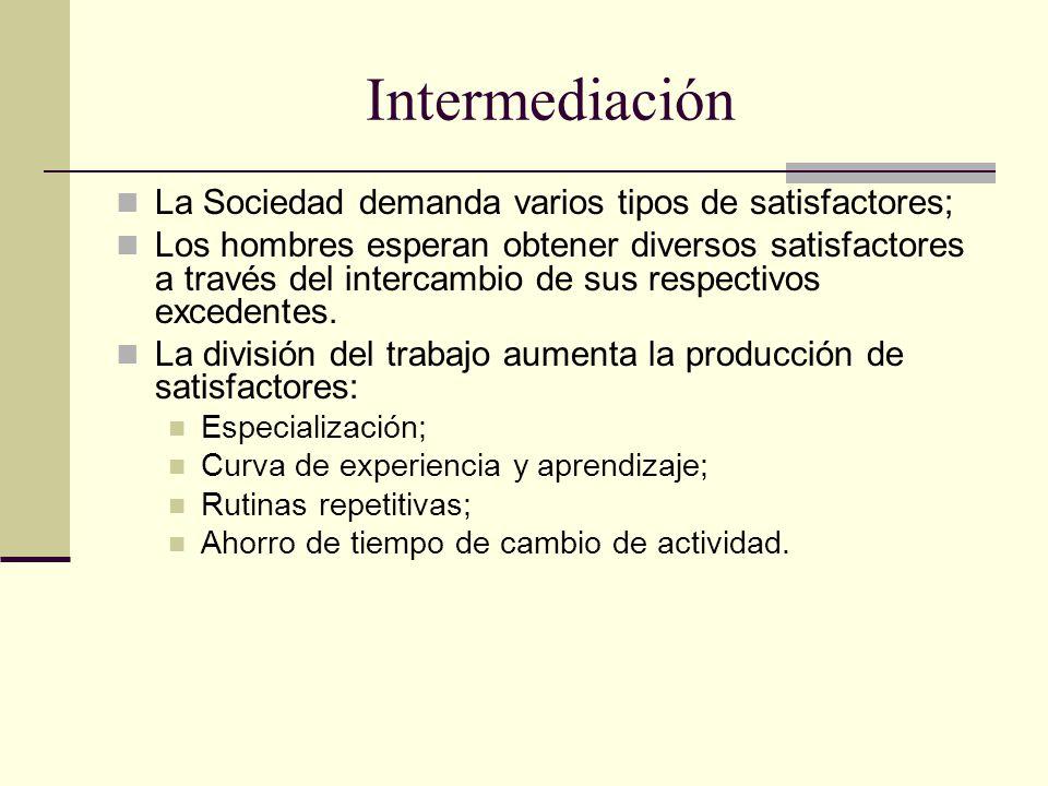 Intermediación La Sociedad demanda varios tipos de satisfactores; Los hombres esperan obtener diversos satisfactores a través del intercambio de sus respectivos excedentes.