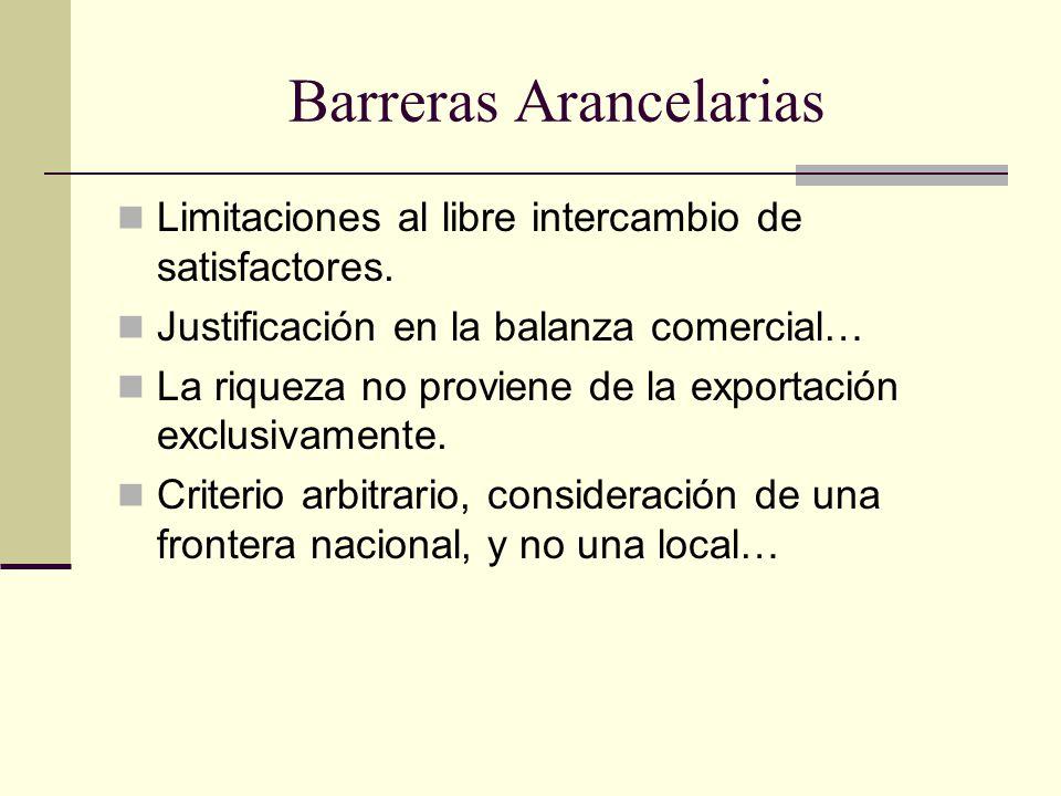 Barreras Arancelarias Limitaciones al libre intercambio de satisfactores.