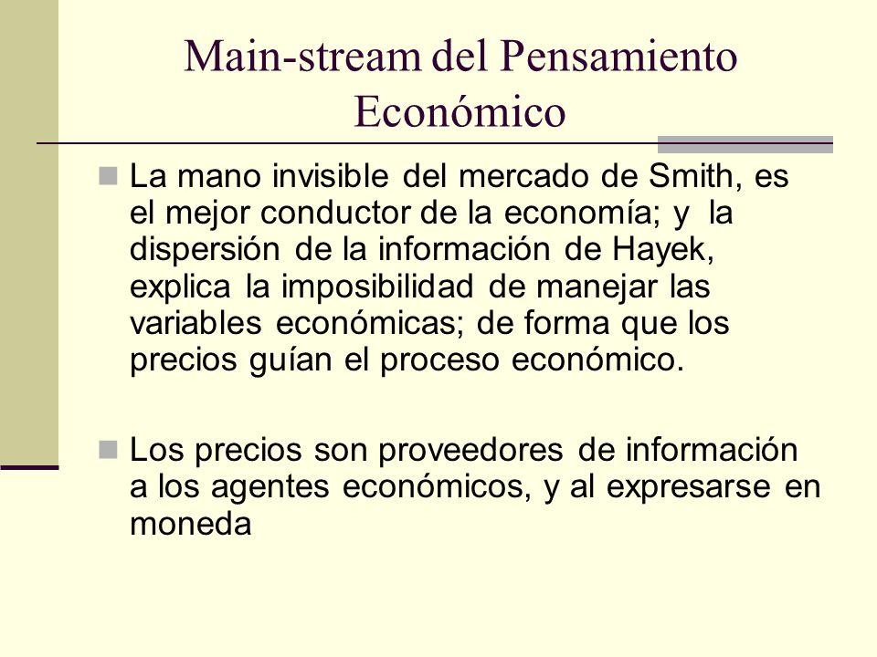 Main-stream del Pensamiento Económico La mano invisible del mercado de Smith, es el mejor conductor de la economía; y la dispersión de la información de Hayek, explica la imposibilidad de manejar las variables económicas; de forma que los precios guían el proceso económico.