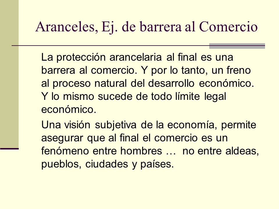 Aranceles, Ej.