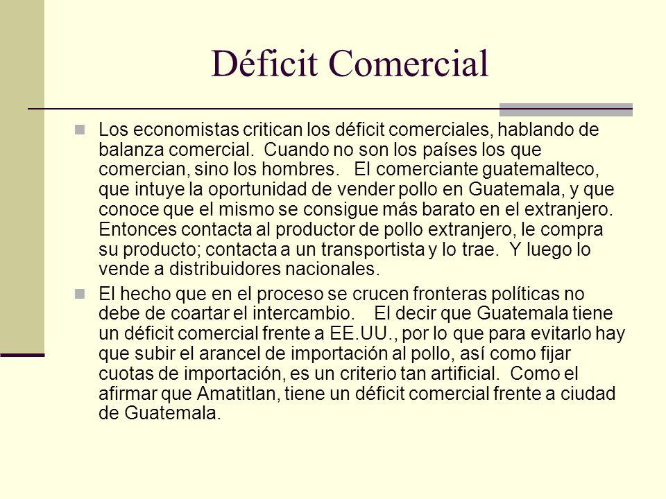Déficit Comercial Los economistas critican los déficit comerciales, hablando de balanza comercial.