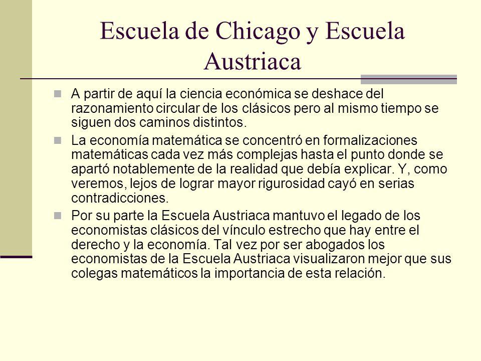 Escuela de Chicago y Escuela Austriaca A partir de aquí la ciencia económica se deshace del razonamiento circular de los clásicos pero al mismo tiempo se siguen dos caminos distintos.