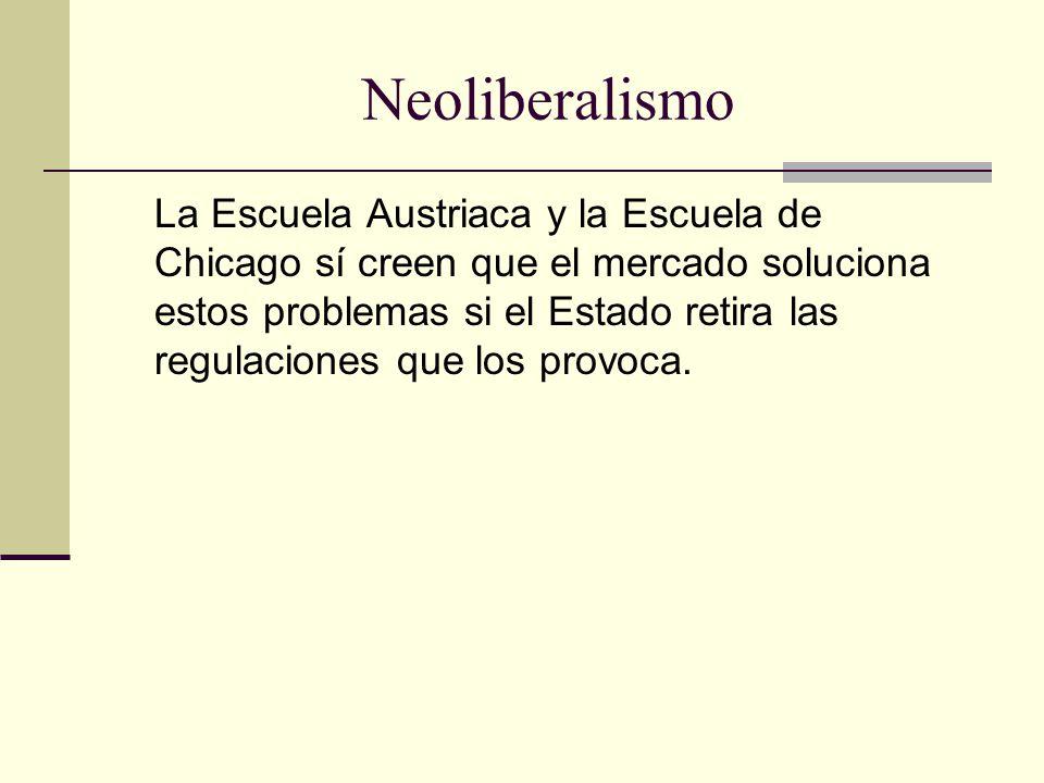Neoliberalismo La Escuela Austriaca y la Escuela de Chicago sí creen que el mercado soluciona estos problemas si el Estado retira las regulaciones que los provoca.