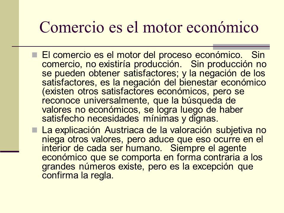 Comercio es el motor económico El comercio es el motor del proceso económico.