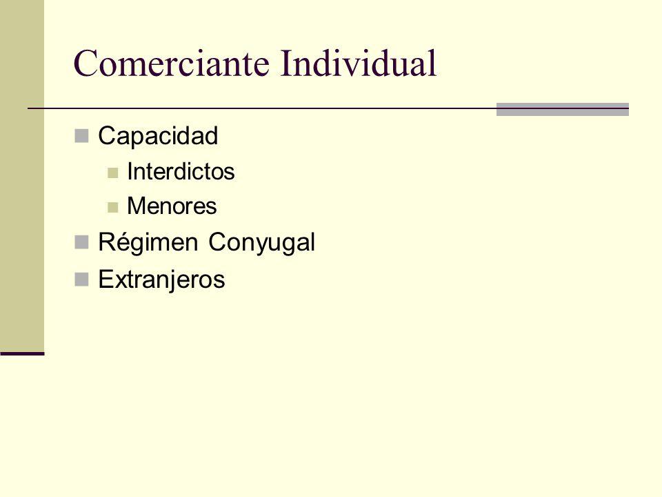 Comerciante Individual Capacidad Interdictos Menores Régimen Conyugal Extranjeros