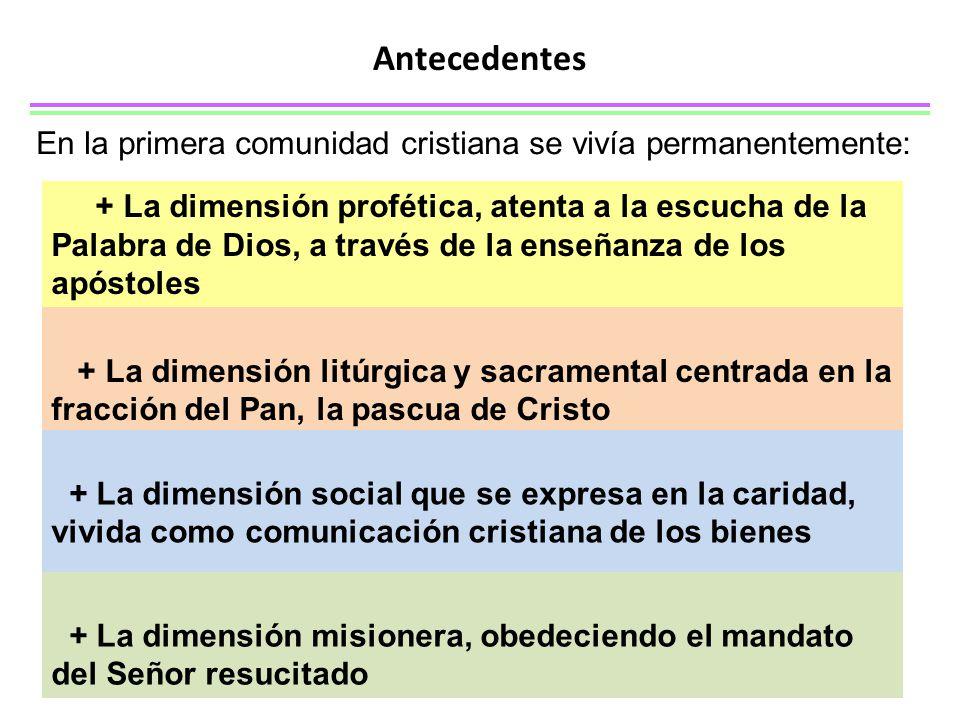 Antecedentes En la primera comunidad cristiana se vivía permanentemente: + La dimensión profética, atenta a la escucha de la Palabra de Dios, a través de la enseñanza de los apóstoles + La dimensión litúrgica y sacramental centrada en la fracción del Pan, la pascua de Cristo + La dimensión social que se expresa en la caridad, vivida como comunicación cristiana de los bienes + La dimensión misionera, obedeciendo el mandato del Señor resucitado