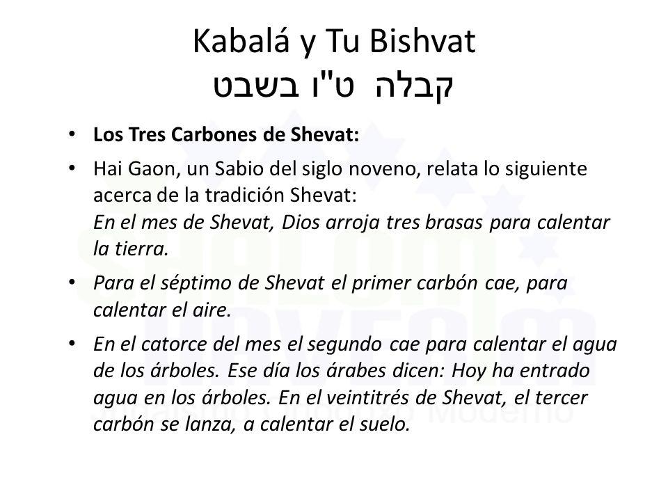 Kabalá y Tu Bishvat ט ו בשבט קבלה Los Tres Carbones de Shevat: Hai Gaon, un Sabio del siglo noveno, relata lo siguiente acerca de la tradición Shevat: En el mes de Shevat, Dios arroja tres brasas para calentar la tierra.