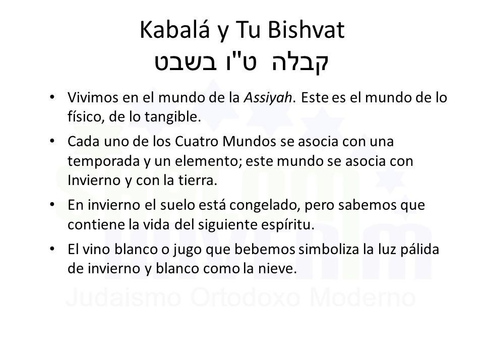 Kabalá y Tu Bishvat ט ו בשבט קבלה Vivimos en el mundo de la Assiyah.