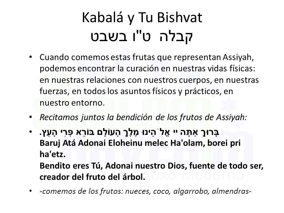 Kabalá y Tu Bishvat ט ו בשבט קבלה Cuando comemos estas frutas que representan Assiyah, podemos encontrar la curación en nuestras vidas físicas: en nuestras relaciones con nuestros cuerpos, en nuestras fuerzas, en todos los asuntos físicos y prácticos, en nuestro entorno.