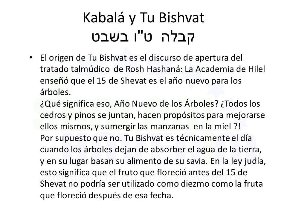 Kabalá y Tu Bishvat ט ו בשבט קבלה El origen de Tu Bishvat es el discurso de apertura del tratado talmúdico de Rosh Hashaná: La Academia de Hilel enseñó que el 15 de Shevat es el año nuevo para los árboles.