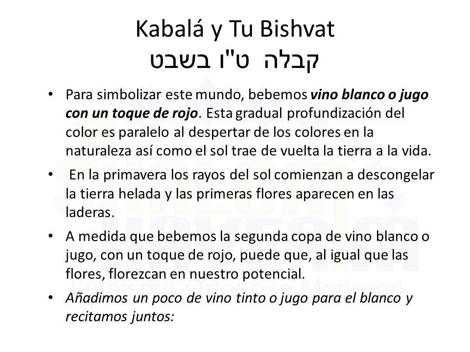 Kabalá y Tu Bishvat ט ו בשבט קבלה Para simbolizar este mundo, bebemos vino blanco o jugo con un toque de rojo.