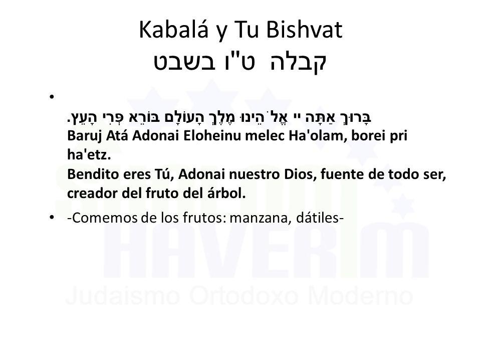 Kabalá y Tu Bishvat ט ו בשבט קבלה בָּרוּךְ אַתָּה יי אֱלֹהֵינוּ מֶלֶךְ הָעוֹלָם בּוֹרֵא פְּרִי הָעֵץ.