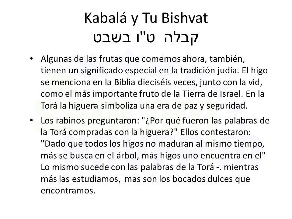 Kabalá y Tu Bishvat ט ו בשבט קבלה Algunas de las frutas que comemos ahora, también, tienen un significado especial en la tradición judía.
