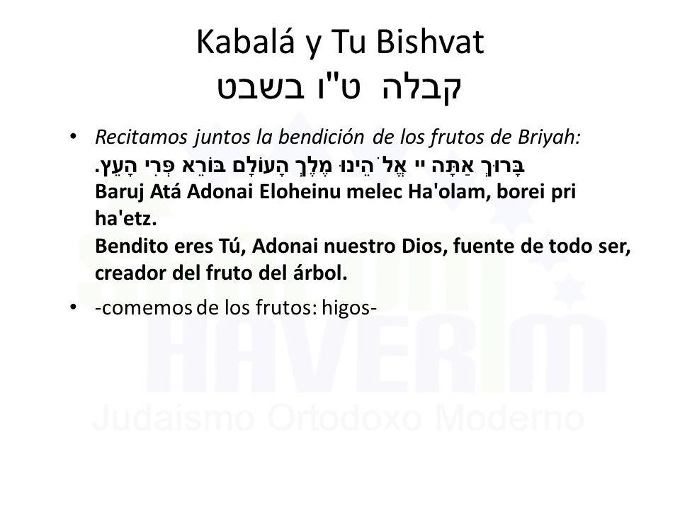 Kabalá y Tu Bishvat ט ו בשבט קבלה Recitamos juntos la bendición de los frutos de Briyah: בָּרוּךְ אַתָּה יי אֱלֹהֵינוּ מֶלֶךְ הָעוֹלָם בּוֹרֵא פְּרִי הָעֵץ.