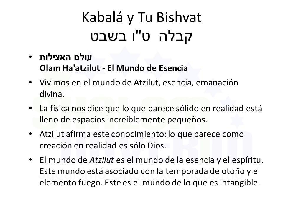 Kabalá y Tu Bishvat ט ו בשבט קבלה עולם האצילות Olam Ha atzilut - El Mundo de Esencia Vivimos en el mundo de Atzilut, esencia, emanación divina.