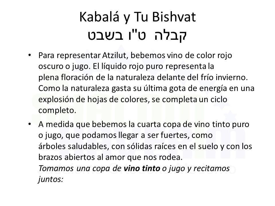 Kabalá y Tu Bishvat ט ו בשבט קבלה Para representar Atzilut, bebemos vino de color rojo oscuro o jugo.
